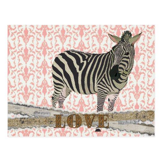 Zeb Gold & Pink Love Damask  Postcard