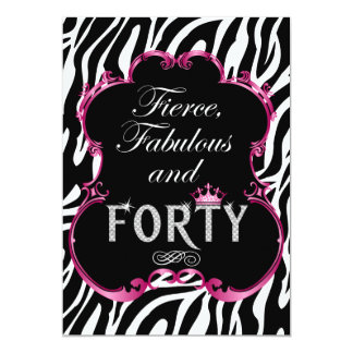Zebra 40 and Fabulous Bling Birthday Invitation