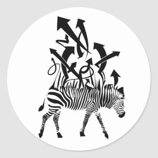 Zebra Abstract Design Classic Round Sticker