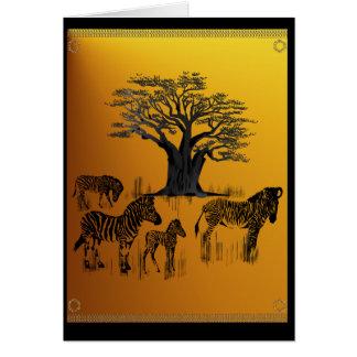 Zebra and Baobab Tree Card