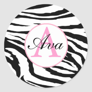 Zebra and Candy Pink Monogram Name Sticker