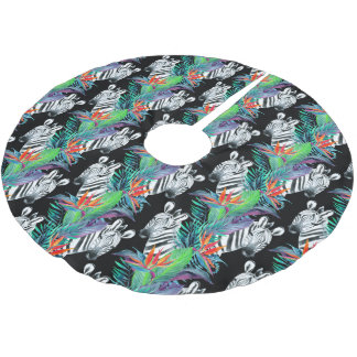 Zebra And Exotic Flowers Pattern Brushed Polyester Tree Skirt