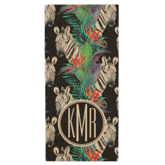 Zebra And Exotic Flowers Pattern | Monogram Wood USB 2.0 Flash Drive