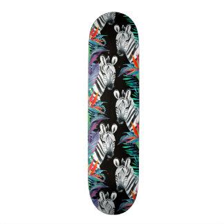 Zebra And Exotic Flowers Pattern Skate Board Deck