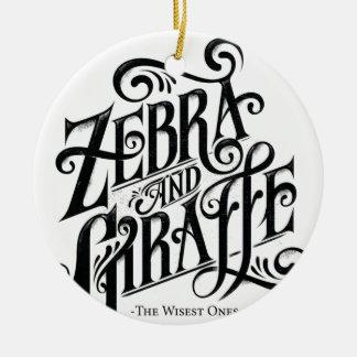 ZEBRA AND GIRAFFE THE WISEST ONES ROUND CERAMIC DECORATION