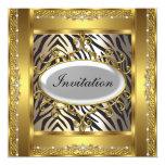 Zebra and Gold  Birthday Party Invitation