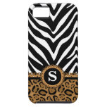 Zebra and Leopard Print Monogram iPhone 5 Case