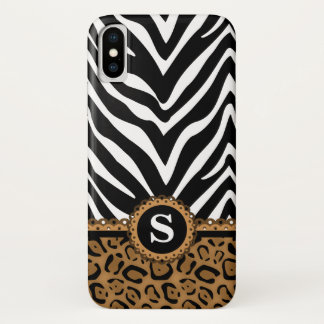 Zebra and Leopard Print Monogram iPhone X Case