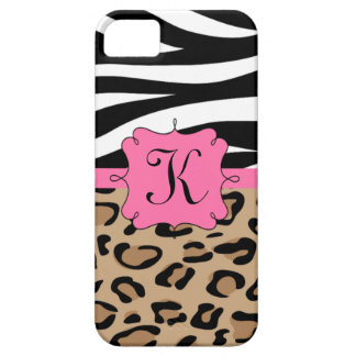 Zebra and Leopard Print Personalized Monogram Case For The iPhone 5