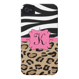 Zebra and Leopard Print Personalized Monogram iPhone 4 Cases