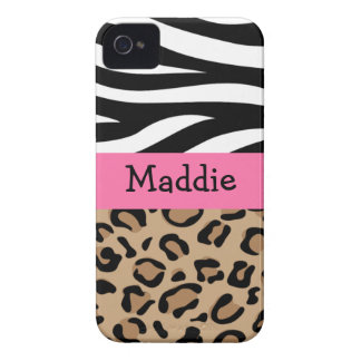 Zebra and Leopard Print Personalized with Name iPhone 4 Case