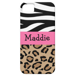 Zebra and Leopard Print Personalized with Name iPhone 5 Cover