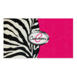 Zebra and Neon Pink with Metallic Monogram Business Cards