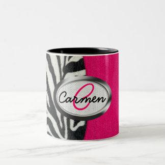 Zebra and Neon Pink with Metallic Monogram Two-Tone Mug