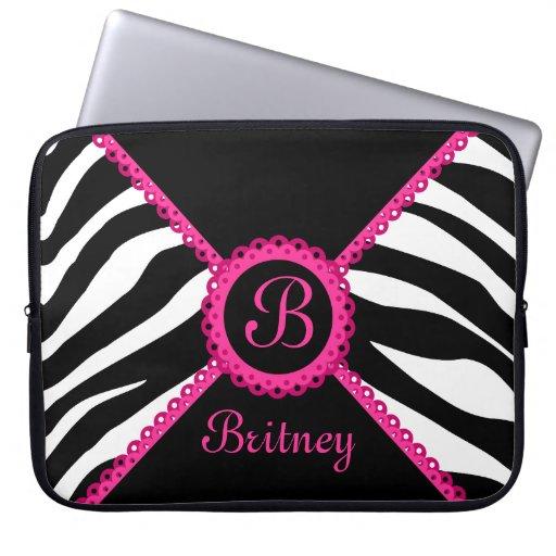 Zebra and Pink Lace Monogram Laptop Sleeve