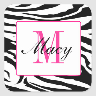 Zebra and Pink Square Sticker Zebra Hot Pink