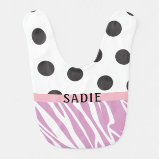 Zebra and Polka-Dots Bib