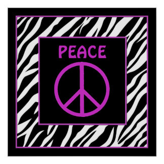 Zebra and Purple Peace Sign Wall Decor Posters