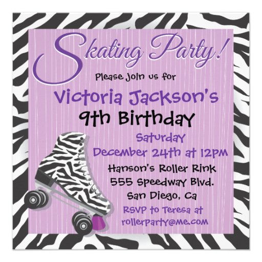 Zebra and Purple Roller Skating Party Invitations