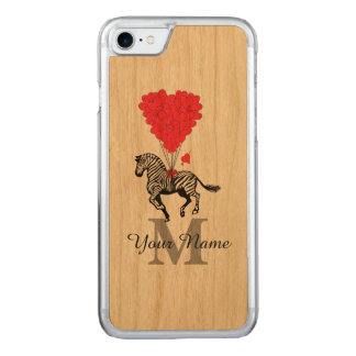 Zebra and red heart carved iPhone 7 case