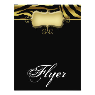 Zebra Animal Flyer Salon Spa Gold Black