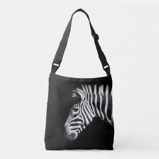 Zebra Animal Portrait on Black Crossbody Bag