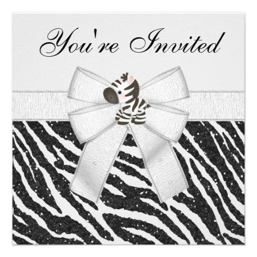 Zebra & Animal Print Black & White Glitter Party Personalized Invitations
