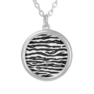 Zebra Animal Print Black White Stripes Pattern Silver Plated Necklace