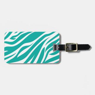 Zebra Animal Print in Teal Blue Bag Tag