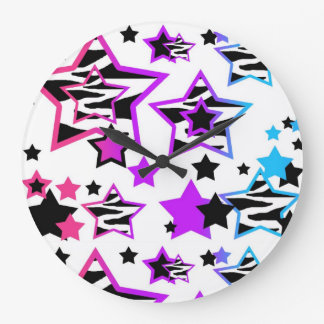 Zebra Animal Print Rainbow Multicolored Stars Girl Large Clock