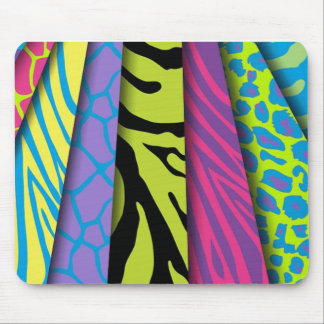 Zebra Animal Print Various Colors Add Text Mouse Pad
