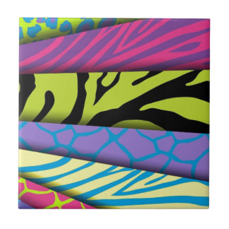 Zebra Animal Print Various Colors Add Text Small Square Tile