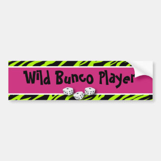 Zebra Animal Print WIld Bunco Player Bumper Sticker
