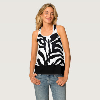 Zebra Animal Print with Black Fashion Tank Top