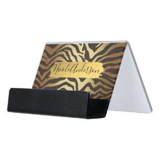 Zebra Animal Skin Print & Gold Modern Chic Desk Business Card Holder