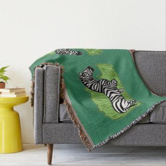 Zebra Art Green Throw Blanket