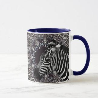 Zebra Art Navy Blue Combo Mug