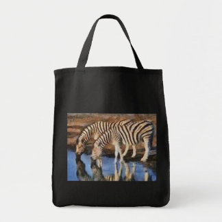 Zebra at the Watering Hole Grocery Tote Bag
