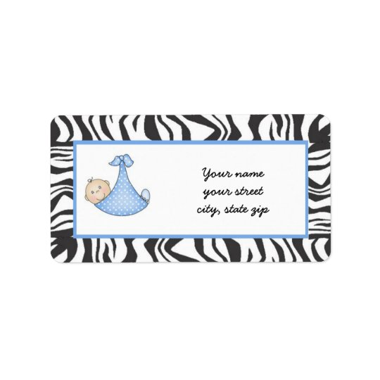 Zebra Baby Boy Address Labels - dark skin