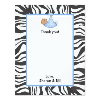 Zebra Baby Boy Shower Thank You note dark skin Card
