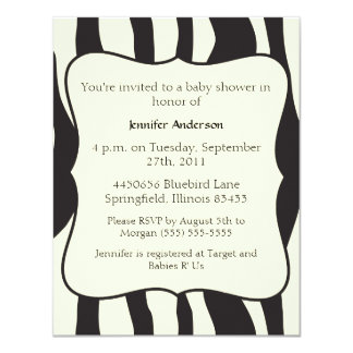 Zebra Baby Shower 11 Cm X 14 Cm Invitation Card