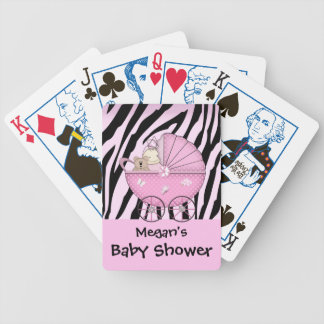 Zebra Baby Shower Card Game Pink Pram
