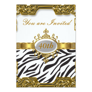 Zebra Birthday Party Glamour Hot Invitation 2