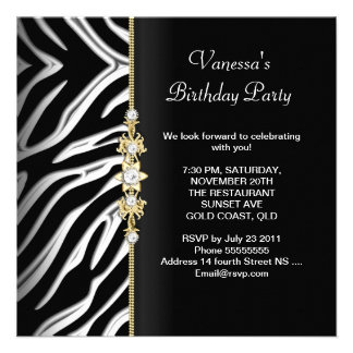 Zebra Birthday Party Gold Black White Floral Personalized Announcement