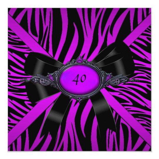 Zebra Birthday Party Magenta Purple Card