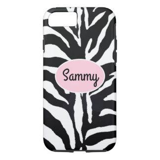 Zebra Black and White Animal Print Pink iPhone 7 iPhone 8/7 Case