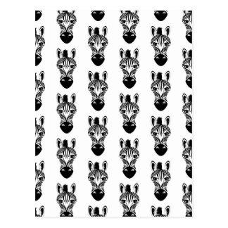 Zebra Black and White Pattern Postcard