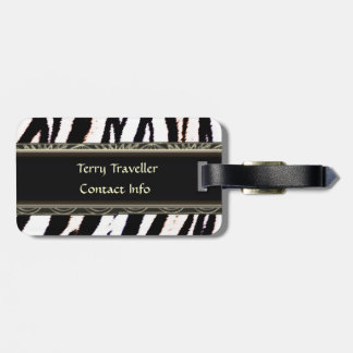 Zebra Black and White Personalised Luggage Tags