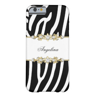 Zebra Black and White Stripe Gold Barely There iPhone 6 Case