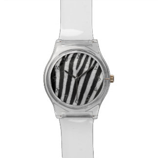 Zebra Black and White Striped Skin Texture Templat Watch